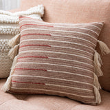 blush red and white modern striped pillow with white tassels