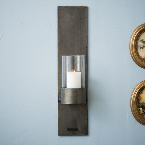 metal wall mount pillar candle hurricane