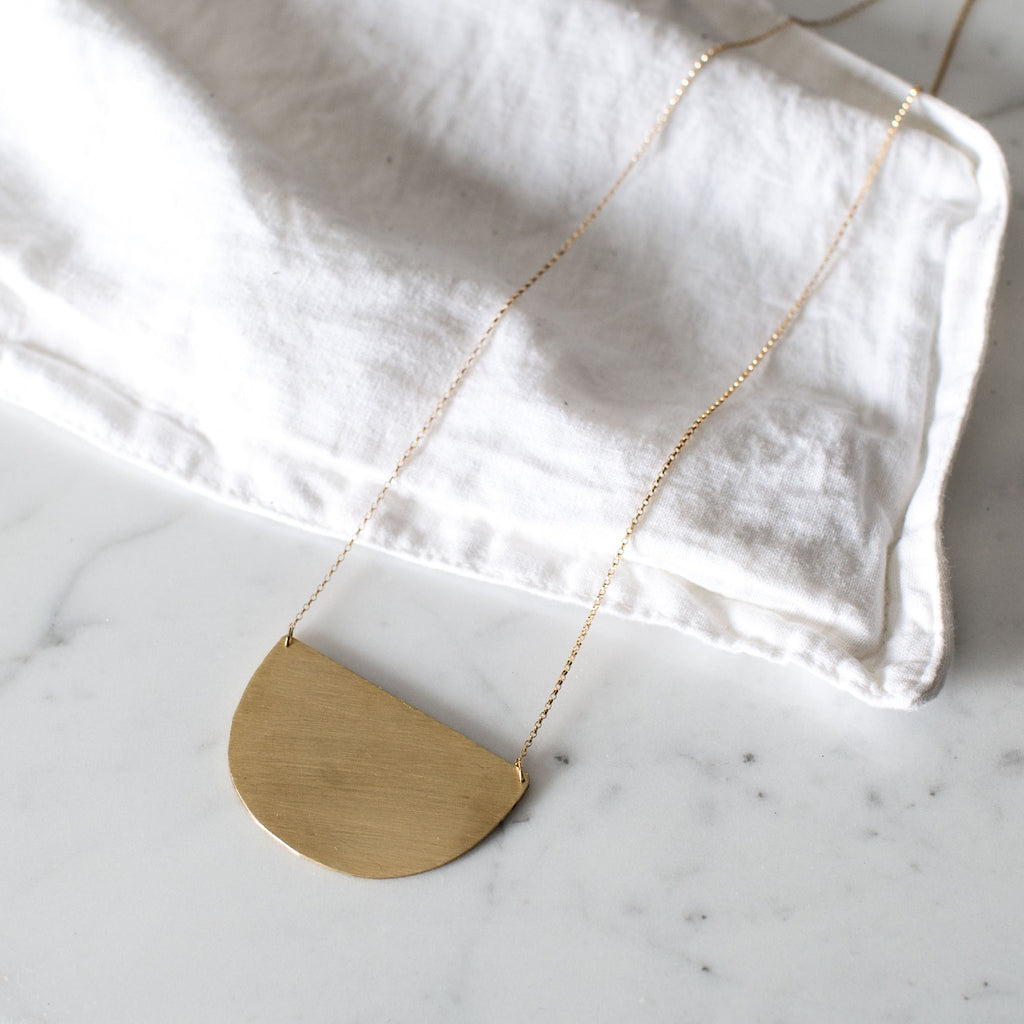 Brushed Crescent Necklace