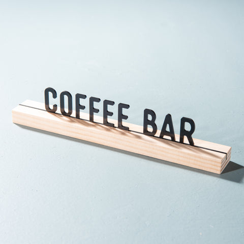 coffee bar acrylic one liner phrase on wood block