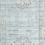 distressed traditional aqua rug with grey floral detail