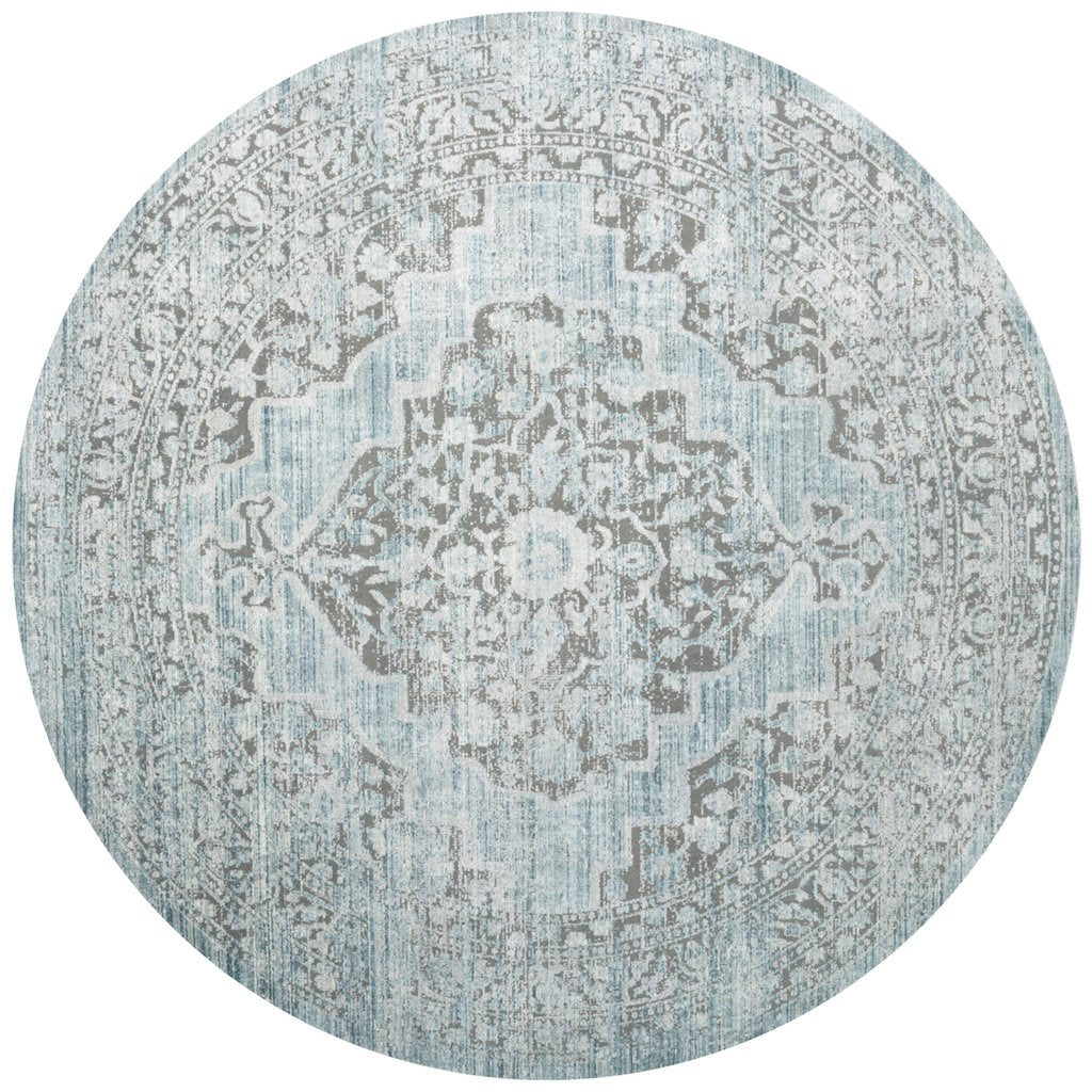 distressed aqua and grey circle rug