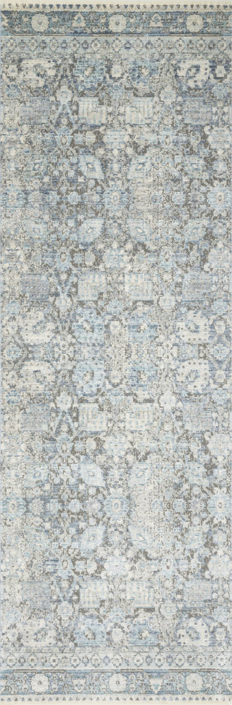 distressed light blue and grey runner rug with floral pattern