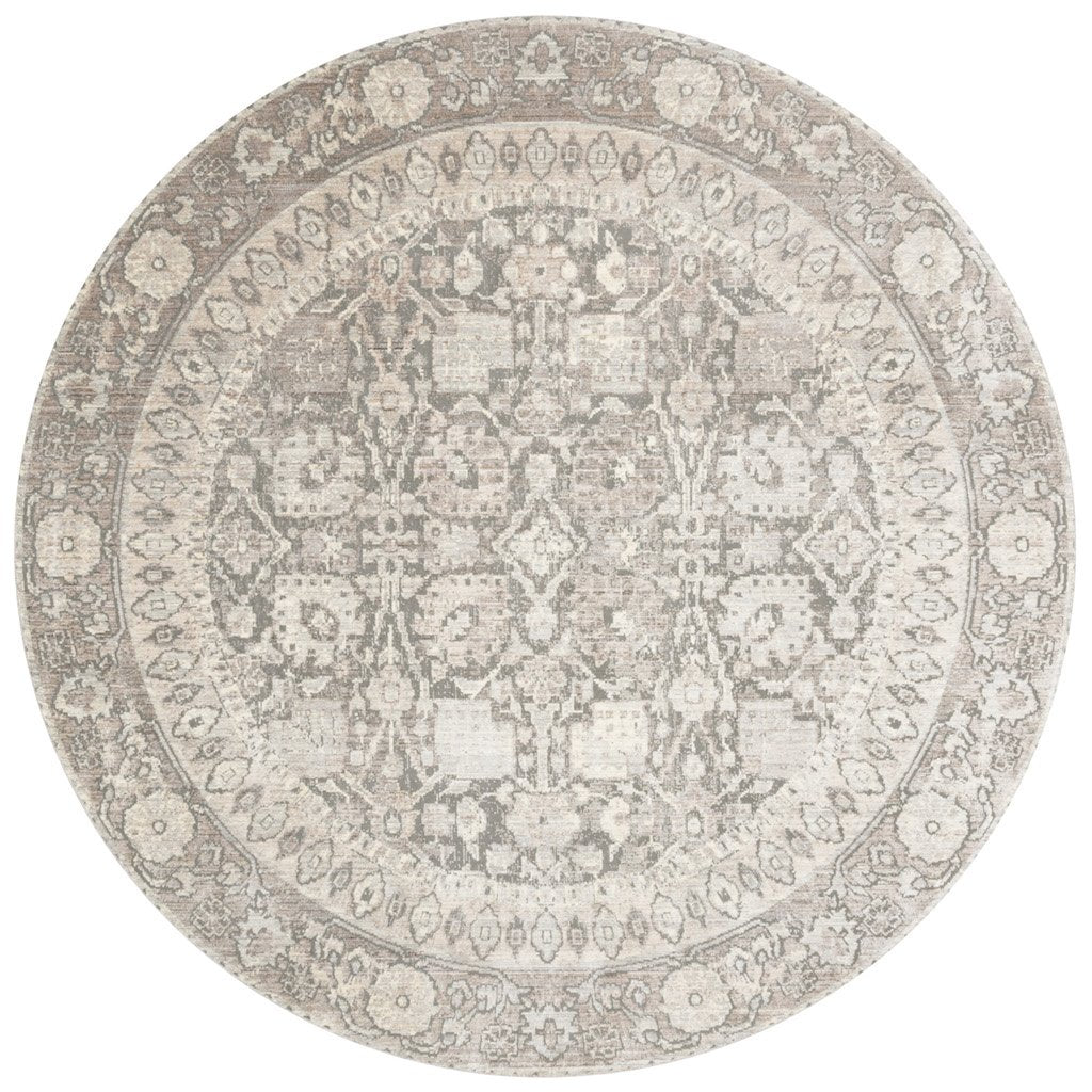 distressed taupe and grey circle rug with floral pattern
