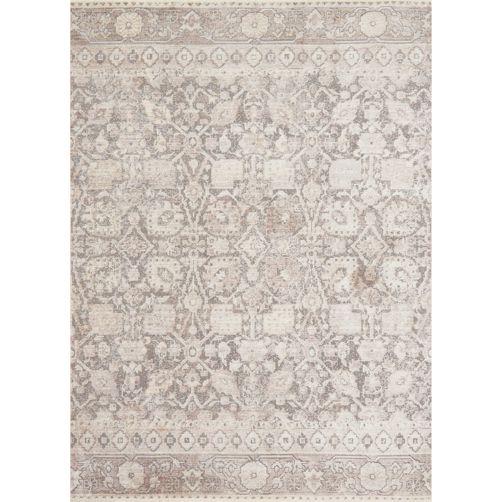 Distressed Taupe And Grey Rug With Floral Pattern