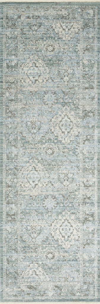 distressed aqua and grey runner rug