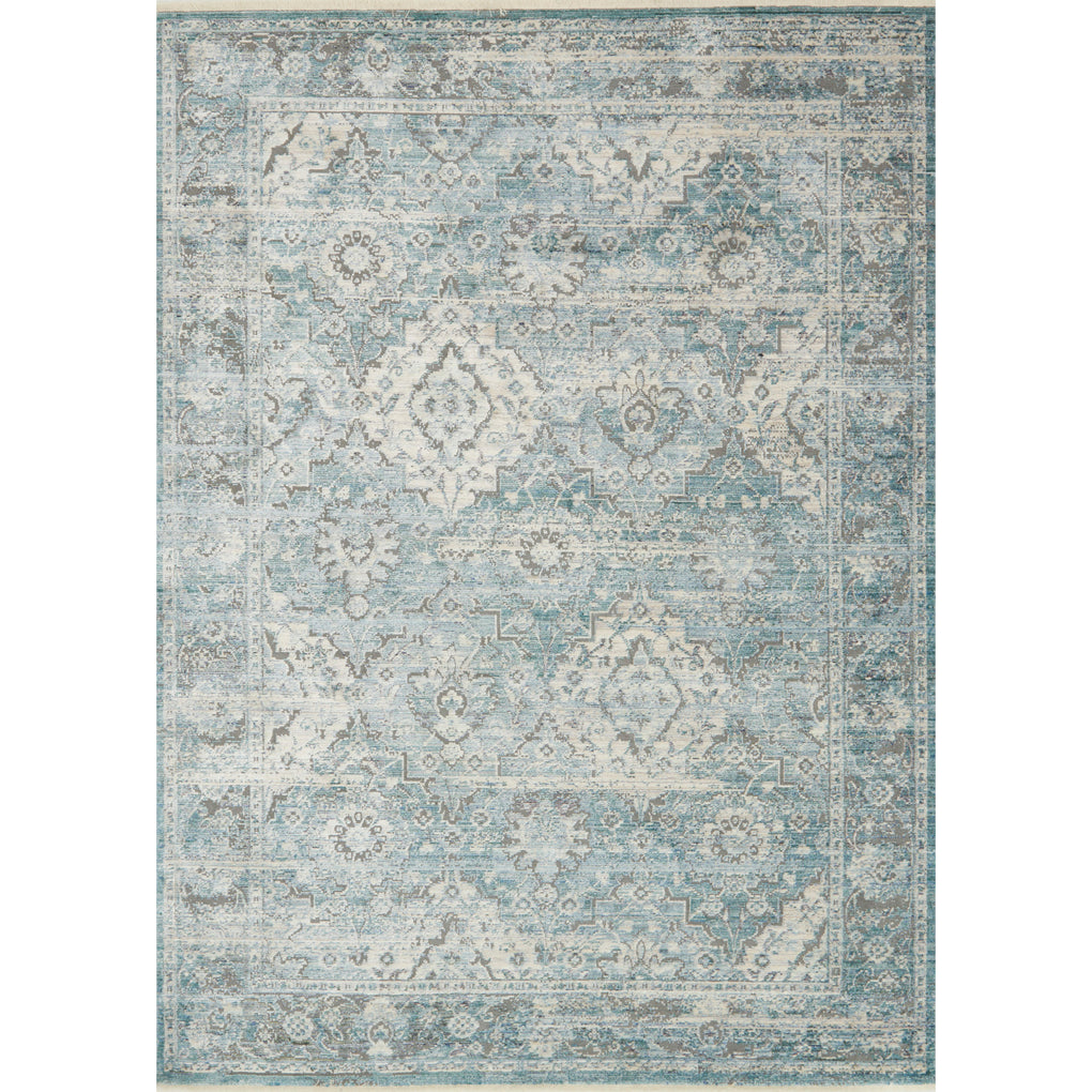 distressed aqua and grey rug