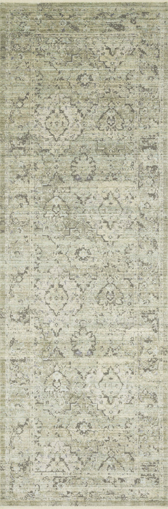 distressed ivory and light green runner rug