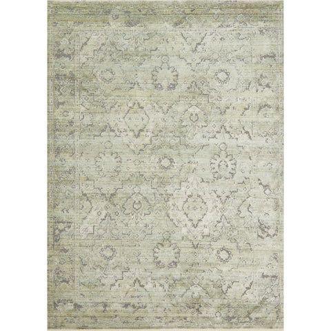 distressed ivory and light green rug