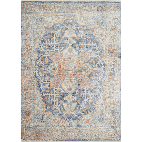 distressed blue and orange ornate rug