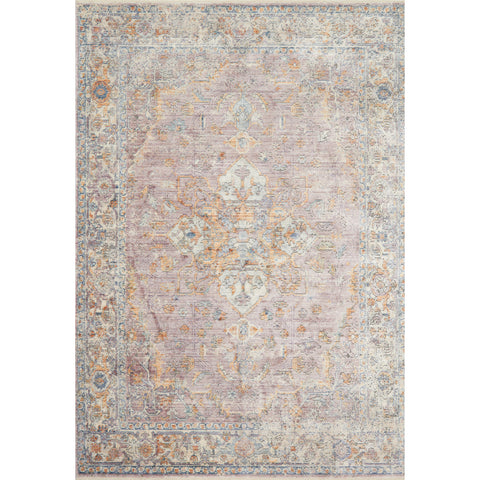 distressed blue rug with orange and blue details