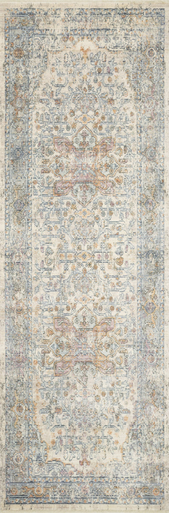 distressed ivory runner rug with orange and blue details