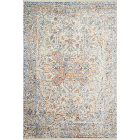distressed ivory rug with orange and blue details
