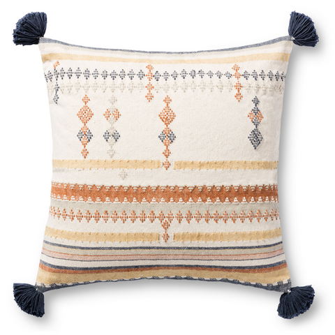 large modern multi-colored square pillow with large corner tassels