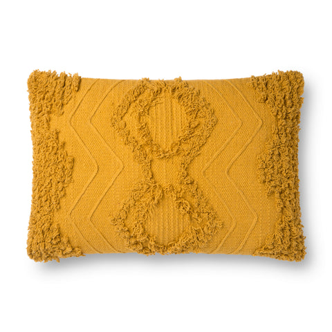 gold mustard rectangular pillow with raised diamond pattern