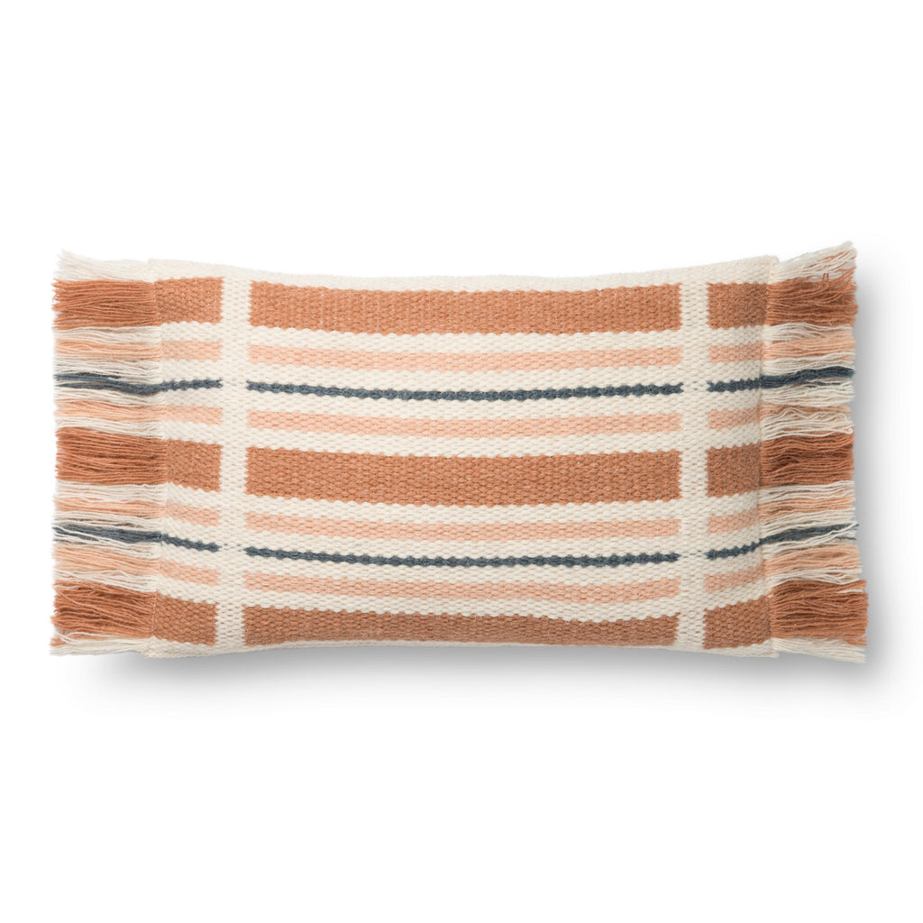 terracotta, white, and dark blue rectangular pillow with tassel fringe