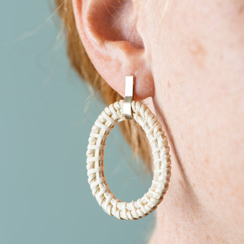 rattan oval hoop earrings