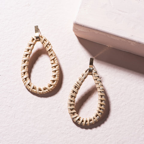 teardrop shaped rattan hoop earrings