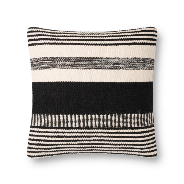 modern black and white striped square pillow