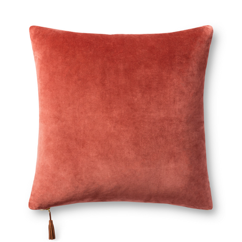 two-toned rust red and gold yellow reversible sqaure decorative pillow