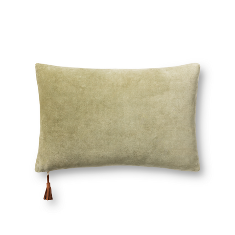 two-toned sage green and tan velvet decorative pillow