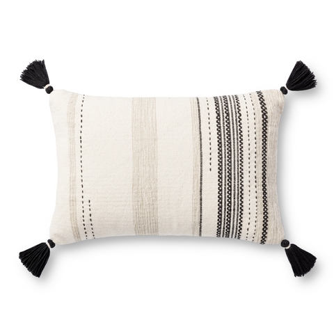 modern cream lumbar pillow with tan and black striped detail and black corner tassels