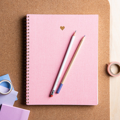 pink linen lined notebook with gold foil heart