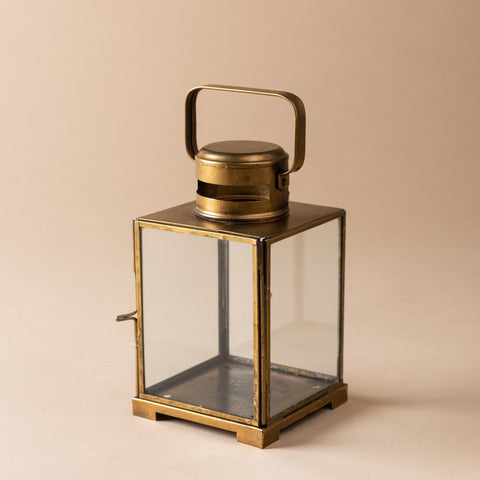 short antique brass and glass candle lantern