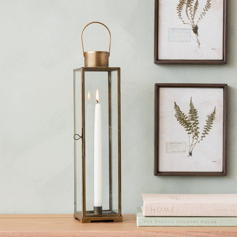 antique brass taper candle lantern