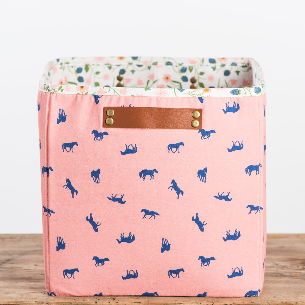 Pink Storage Bin With Leather Handle