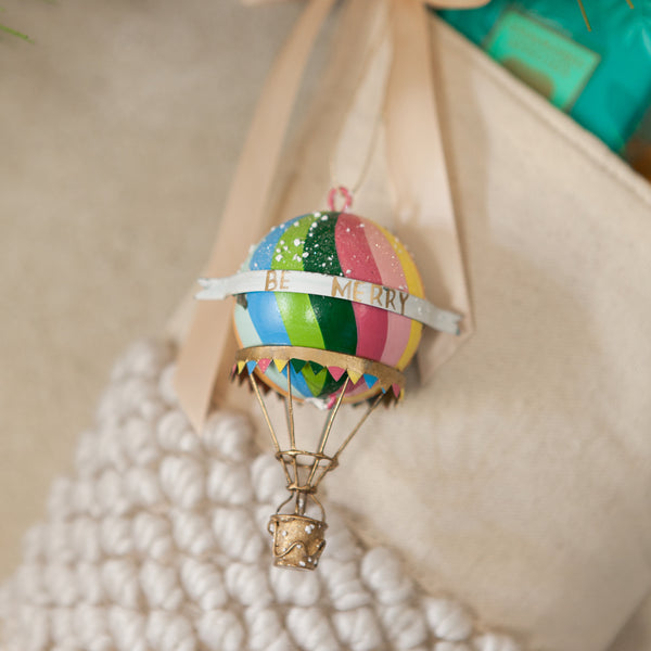 Best Holiday Decor Stores Near Dallas Fort Worth: Rainbow Hot Airballoon Ornament