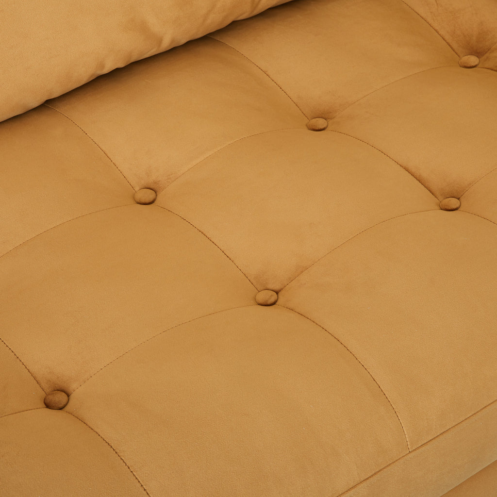 cognac colored suede mid-century modern sofa