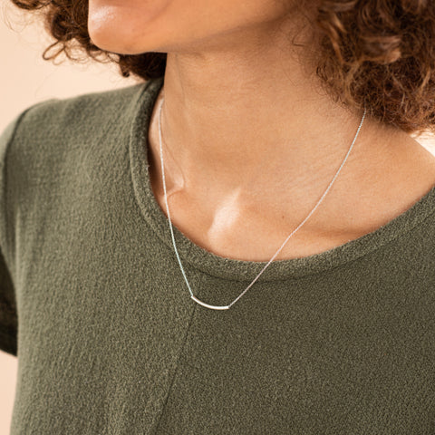 silver tube pendant necklace