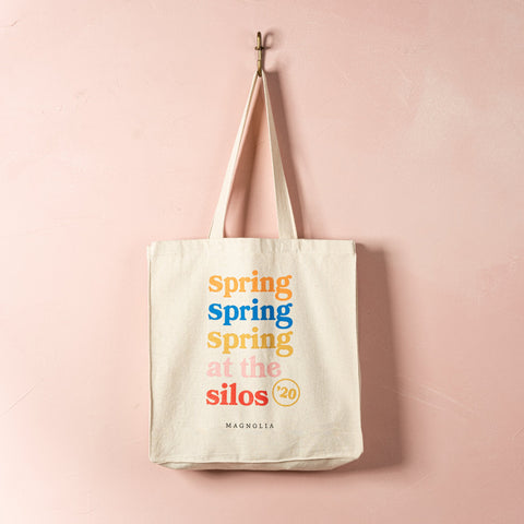 canvas tote bag with 2020 spring at the silos logo