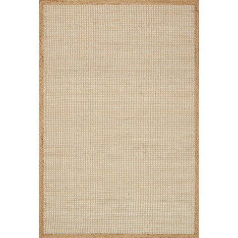 woven jute rug with tan border