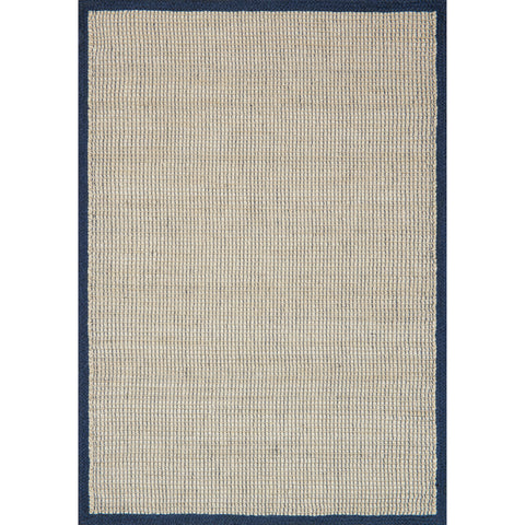 woven jute rug with navy border