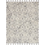 modern light grey rug with ivory diamond pattern and grey tassels