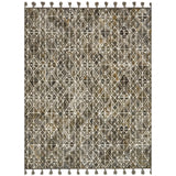 dark olive modern rug with ivory geometric pattern and tassels