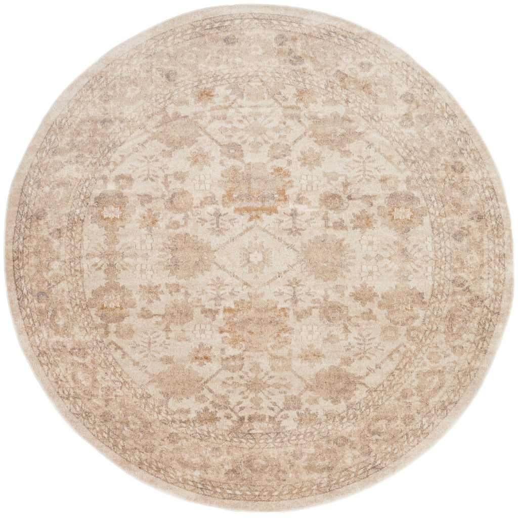 traditional ivory circle rug with floral pattern and tan undertones
