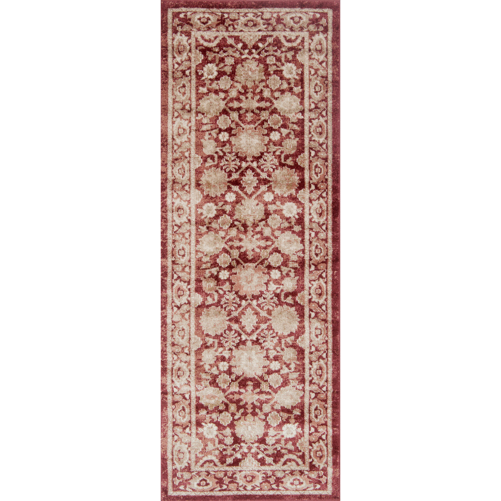 traditional crimson runner rug with ivory floral detail and border