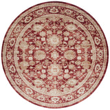 traditional crimson circle rug with ivory floral detail and border
