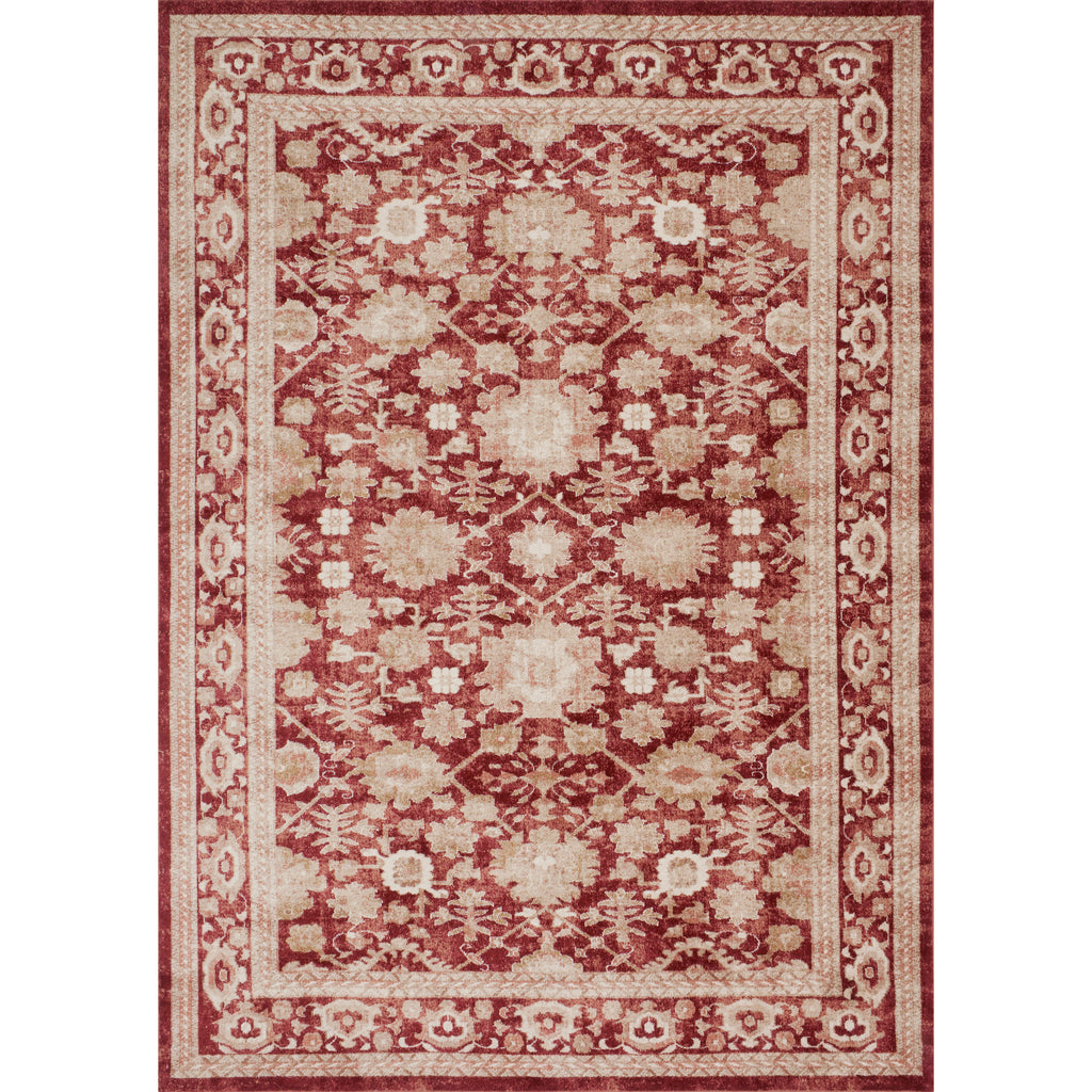 traditional crimson rug with ivory floral detail and border