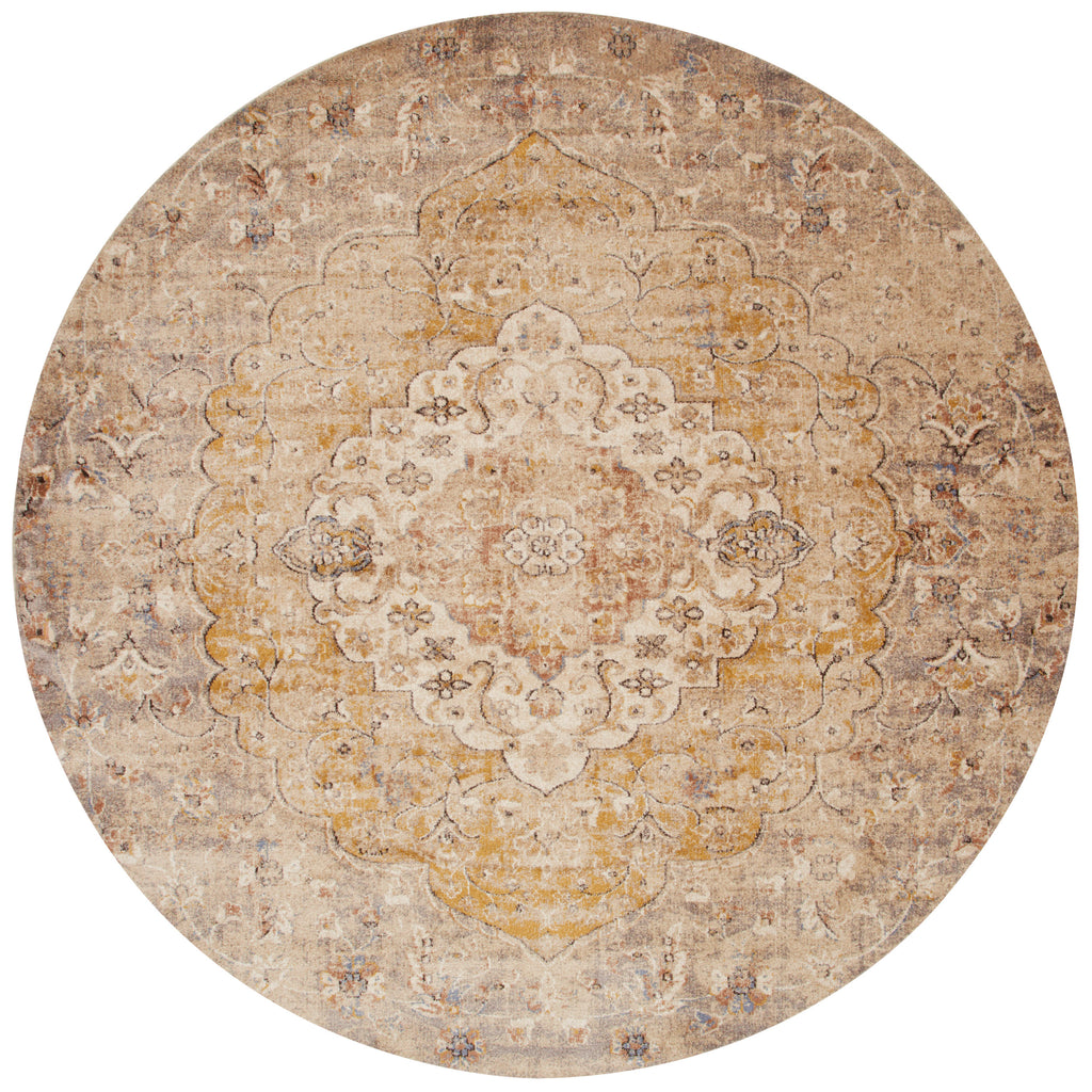 distressed tan ornate style circle rug with ivory detail