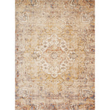 distressed tan ornate style rug with ivory detail