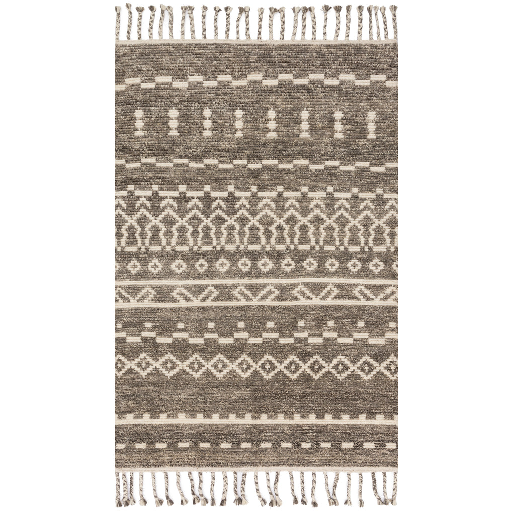 modern ash grey rug with asymmetrical line detail and tassels
