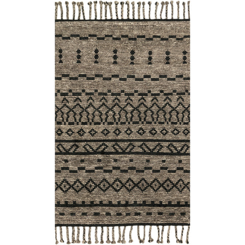 modern dark grey rug with asymmetrical black line detail and tassels