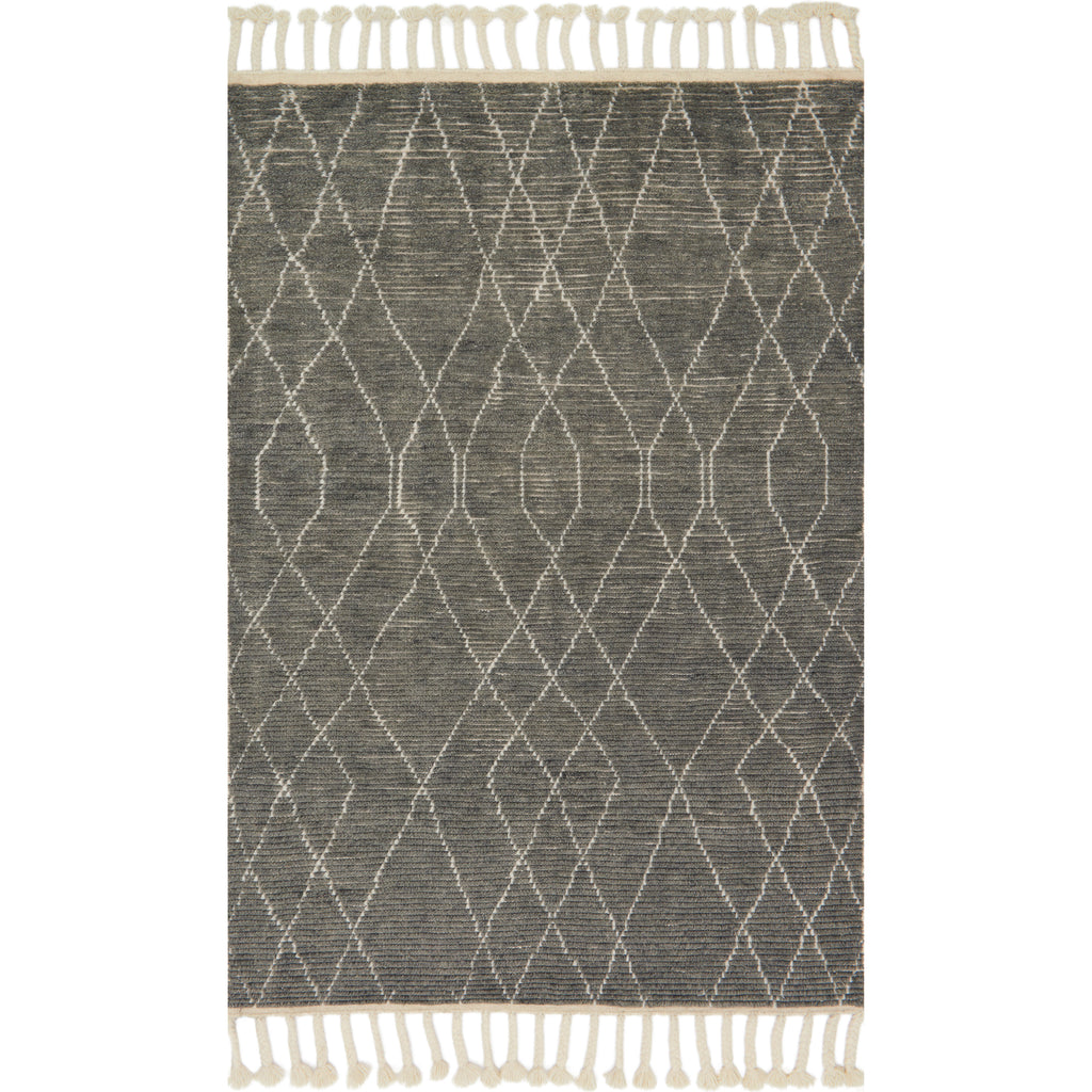 grey modern knotted rug with ivory detail and tassels