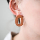 terracotta clay oval hoop earrings
