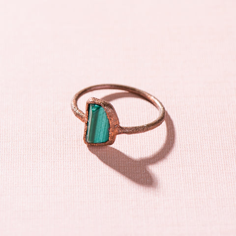malachite jewel copper stacking ring