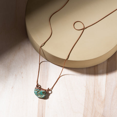 copper and turquoise half moon pendant necklace